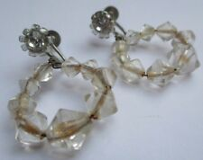boucles d'oreilles à vis ancien bijou vintage couleur argent perle cristal 2741