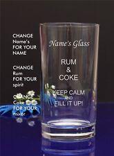 Personalised Engraved Hi ball Tumbler mixer spirit RUM AND COKE gift glass16
