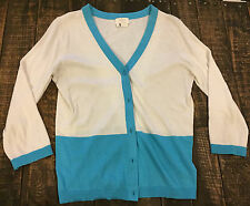 Kate Spade designer cardigan sweater silk blend cream/teal colorblock boho S