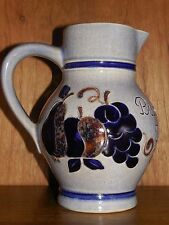 "Salt Glazed ~ Stoneware ~ Handle Pitcher .5l Germany Blue Fruit Design 6.5"" 2134"