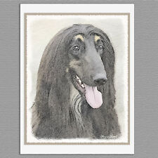 6 Afghan Hound Dog Black Blank Art Note Greeting Cards