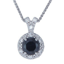 1.50 CT Natural Black Diamond Pendant .925 Sterling Silver + 18 Inch Chain + Box