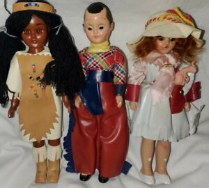 Vintage celluloid dolls cowgirl,cowboy, indian* lot of 3 Cowgirl has gun! READ !