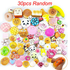 30Pcs Jumbo Mini Medium Random Squishy Soft Panda Bread Cake Buns Phone Straps