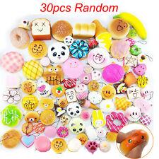 30Pcs Jumbo Mini Medium Random Squishy Soft Panda Bread Cake Buns Phone Straps !