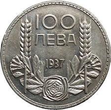 1937 Boris III Tsar of Bulgaria 100 Leva Large Old European Silver Coin i50174