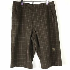 MOUNTAIN HARDWEAR Hiking Shorts Mens 34 Recycled Poly Blend Dark Brown Plaid
