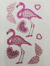SELF ADHESIVE GEMS-FLAMINGOS/HEARTS ACRYLIC GEMS/GEM STONES CRAFT STICKERS/PINK