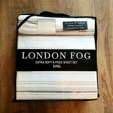 London Fog Supreme 6 Piece Luxury Extra Soft Sheet Set King Size Beige Striped