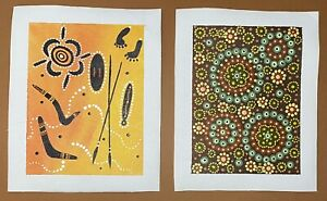 2 x Indigenous Original Paintings on Canvas: Smaller Size: 155mm x 205mm:Vibrant