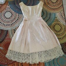 1950s DRESS adorable authentic vintage blue w/lace READY to WEAR small