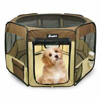 Jespet 2-Door Soft sided Pet Playpen,Brown Portable Exercise Pen, with Carry Bag
