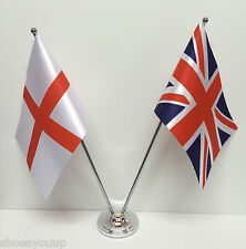 England & Union Jack Flags Chrome and Satin Table Desk Flag Set