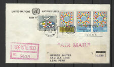 Nations Unies New-York Peru Lima 4 timbres sur lettre tampon date 1966/B5N-U19