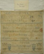 """MID 19TH CENTURY """"BUSY BEE"""" VERSE & MOTIF SAMPLER BY MARY PATRICK AGED 11 c.1853"""