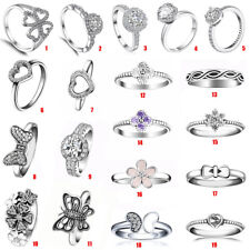 Fashion Women 925 Silver CZ Ring Wedding Engagement Jewelry Zircon Heart Ring