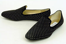 JIMMY CHOO * ITALY * 'WHEEL' BLACK SUEDE FLAT WITH STUDS * 38.5 * NWOB
