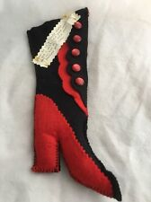 Vintage Hand Made Felt Hightop High Heel Shoe Needle Pin Cushion Scissor Caddy