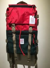 New! Topo Designs Rover Backpack Bag Pack. Made In USA. Forest Green/Red Cordura