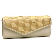 New Womens Handbag Evening Bag Envelope Bag Woven Ribbon Clutch Chain Strap Gold