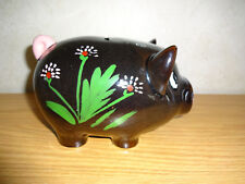 "Vintage Piggy Bank Black Pig Hog Flowers Coins Japan 7"" Long"
