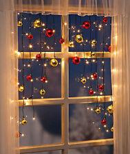 Lichtervorhang Lichterkette Fenster Kugeln Fensterdeko LED Weihnachtsbeleuchtung