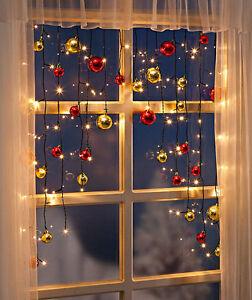Lichtervorhang Lichterkette Fenster Kugeln Fensterdeko Weihnachtsbeleuchtung LED