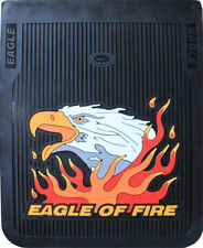 "Black 24"" x 30"" Eagle of Fire Fiberglass Reinforced Rubber Semi Truck Mud Flaps"