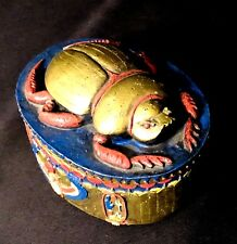 Egyptian Revival Hand Painted Covered Trinket Keepsake Momento Box with Scarab