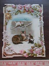 Vintage Christmas Paper Card Ephemera ~Mama Cat & Kittens ~Flowers, Roses & More