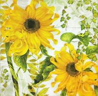 3x Single Paper Napkins For Decoupage Craft Yellow Flowers Sunflower  N159