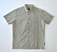 Men's KUHL Short Sleeve Embroidered Tan Button Shirt 100% Organic Cotton MEDIUM