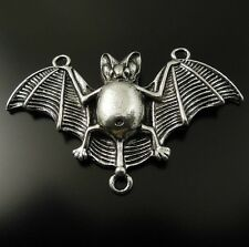 ** 2X Vintage Style Silver Tone Bat Connector Pendant Charms Findings 47*25*5mm