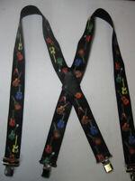 "Mens Suspenders X Style 1-1/2""-2"" GUITAR. Jumbo Clips, Belt Loop Snaps.USA Made"