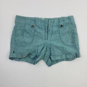 Charlotte Russe Women's Solid Linen Cuffed Mini Shorts Casual Pockets Juniors 11