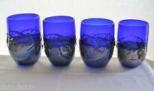 WARREN Glass 4 TUMBLER VASE SET Cobalt BLUE with IRIDESCENT & Metallic ELEMENTS