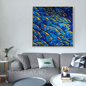 Beautiful Fishes Hand-Painted Oil Canvas Wall Art High Quality Fish School Decor