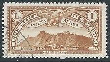 1931 SAN MARINO USATO POSTA AEREA VEDUTA 1 LIRA - M15-4