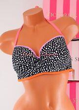 36D Black Dot VS VICTORIA'S SECRET Swim Getaway Halter Bikini Light Padding Top