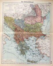 Landkarte der Balkanhalbinsel, Rumelien, Bulgarien, Serbien, Otto Herkt um 1908