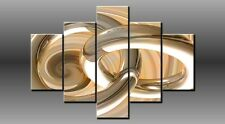 LARGE ABSTRACT RING BEIGE GOLD CANVAS WALL PICTURE ART MULTI PANEL 40X28 0203/5