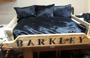 Extra Small personalised wooden dog/cat bed with luxury crushed velvet cushions