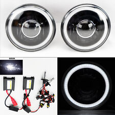 "7"" Round 6000K HID Xenon H4 Black Projector Glass CCFL Halo Headlights Pair"