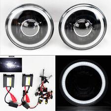 "7"" Round 6000K HID Xenon H4 Black Projector Glass CCFL Halo Headlights Pair"
