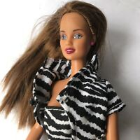 Brunette Teresa 1990 Barbie Fashion Doll With Pink Earrings & Ring