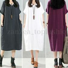 ZANZEA Womens Vintage Batwing Sleeve Oversized Deep V Long Maxi Shirt Dress Plus