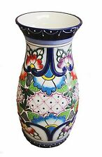 "Mexican Talavera Large vase 13.5"" tall Ceramic, Pottery, Handmade"