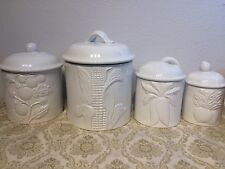 4 Pieces Ceramic White Canister Set Coffee Tea Sugar Storage Jar Embossed