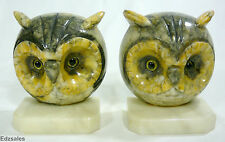 "Pair of 5"" Large Vintage Art Deco Glass Eye Marble Round Owl Face Bookends"