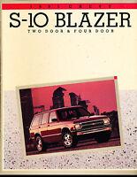 1991 Chevrolet S-10 Blazer Sales Brochure Book S10